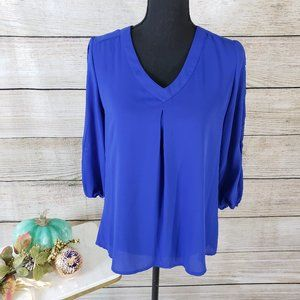 BRIXON IVY CUT OUT SLEEVE BLUE TOP - SIZE SMALL